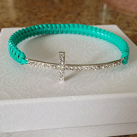 Silver Cross Bracelet with Lace