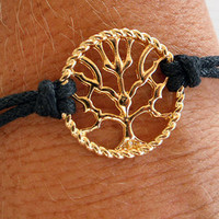 SAVE 25% Tree of Life Bracelet 14 carat gold plated with black leather strap - Karma, Love, Peace
