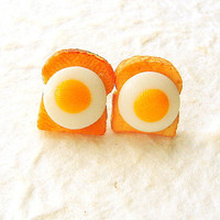 Toast Earrings Miniature  Food Jewelry Toast And Eggs