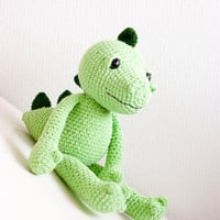 Amigurumi dragon, soft toy, soft sculpture - Egon the dragon in apple green