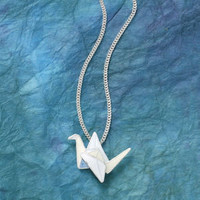 Sterling Cloisonne Origami Crane Pendant 18in at Pyramid Collection