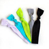 The Electric Hair Tie Package - 5 Bright Neon Elastic Solid Color Hair Ties that Double as Bracelets by Mane Message on Etsy