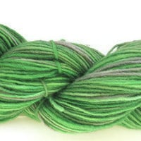 Hand Dyed Yarn - Wool Single - Green and Gray - Sport Weight Yarn