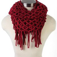 loose knit eternity scarf with fringe - debshops.com