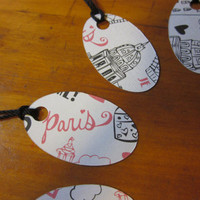 Paris Christmas Tags - Pink and Black
