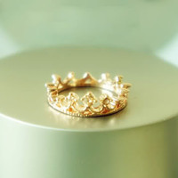 Korean Stylish Trendy Lovely Cute Elegant Crown Rhinestone Ring Rings