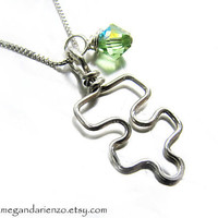 Autism Awareness Pendant, Puzzle Piece Birthstone Necklace