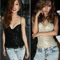 European Style Super Sexy Low Bosom Shine Halter Night Club Clothes T-shirt