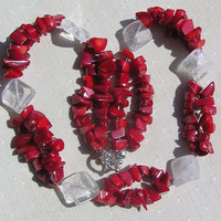 "Clear Quartz & Natural Red Coral Crystal Gemstone Necklace - ""Crimson Glory"""