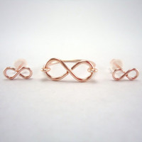 Infinity Ring, and Mini Infinity Studs Set, Rose Gold