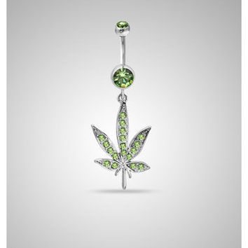 14 Gauge Cubic Zirconia Pot Leaf Dangle Banana