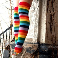 Foot Traffic Rainbow Over Knee Socks