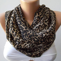 Elegant  Infinity Scarf, Leopard Loop Scarf Circle Scarf - Elegant - It made with good quality CHIFFON  fabric - Super Loop