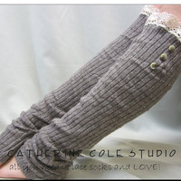 NEW lace leg warmers womens Cashmere feel Smokey mocha grey ROOMIER FIT larger calves amazing softness Catherine Cole Studio legwarmers knit