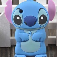 3D Silicone Stitch Back COVER Case for Apple iPhone 3G 3GS blue ST06