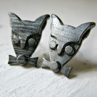 Mysterious Woodland Creature in a Bow Tie. Stud Earrings. Free Shipping