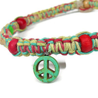 Rasta Peace Necklace, Hippie hemp jewelry from Hawaii - Reggae island style