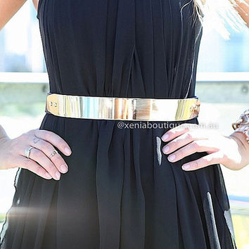 Gold Plate Belt | Xenia Boutique