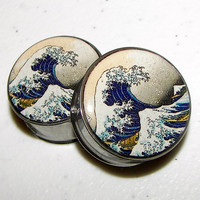 "The Great Wave Plugs - 1 Pair - Sizes 2g, 0g, 00g, 7/16"", 1/2"", 9/16"", 5/8"", 3/4"", 7/8"" & 1"""