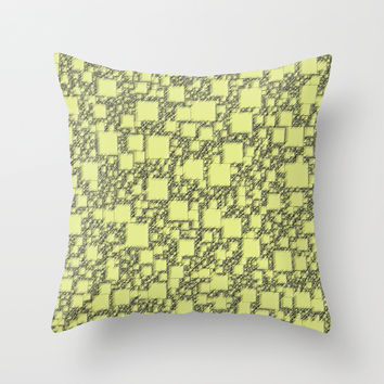 Windy Yellow Squares Throw Pillow by Alice Gosling