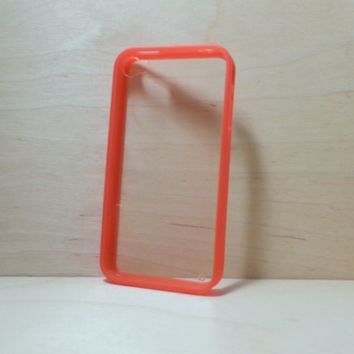 For Apple iPhone 4 / 4s Red Silicone Bumper and Clear Hard Plastic Back Case