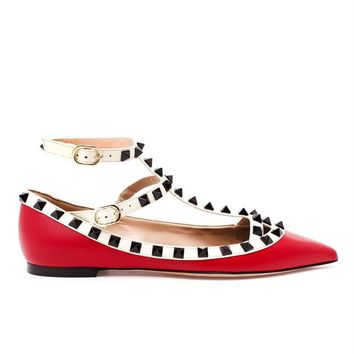Matte Leather Rockstud Flats - VALENTINO