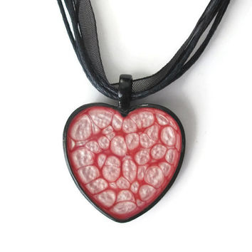 Pink Heart Pendant necklace in black heart shaped pendant tray with black organza necklace, lolita jewelry