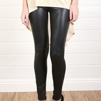 P7116 Black Stretch Liquid Leggings and Shop Apparel at MakeMeChic.com