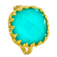 Indulgems Gold and Turquoise Crystal Ring with Fancy Bezel - Max & Chloe