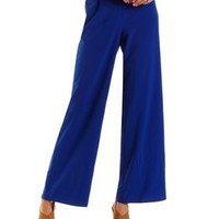 Solid High-Waisted Palazzo Pants by Charlotte Russe - Blue