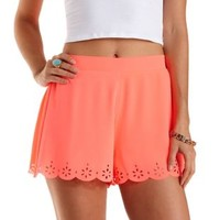 Neon Laser-Cut Scalloped Shorts by Charlotte Russe - Neon Coral
