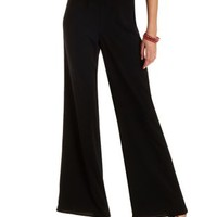 Solid High-Waisted Palazzo Pants by Charlotte Russe - Black