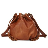 Double Tassel Bucket Bag by Charlotte Russe - Cognac