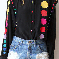 tea and tulips boutique - one of a kind vintage. — rainbow buttons blouse