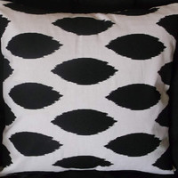 18in IKAT BLACK and WHITE Decorative throw pillow cover home decor home accent