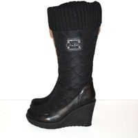GUESS Boots Quillaan Black Quilted Tall Boots Wedge Platform Boots Size 5