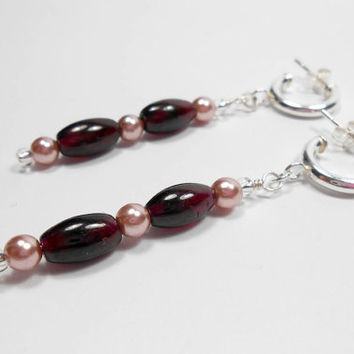 Sterling Silver Garnet and Faux Pearl Earrings Half Hoop Style Semi Precious Gemstone Dangle Drop Earrings Pierced Ear Handmade UK Jewellery