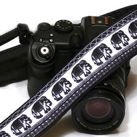 Lucky Elephants Camera Strap. Black and White Camera Strap.  DSLR Camera Strap. Canon, Nikon Camera Strap. Women Accessories