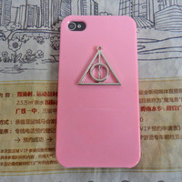 Fashion iphone 4 ,4S hard Case Cover with Deathly Hallows triangle harry potter for iPhone 4 Case, iPhone 4 S Case, iPhone 4 GS Case  -214