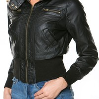 Faux Fur Lined Hooded Bomber Jacket in Black