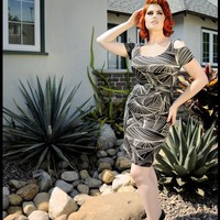 Multi-Faceted Shift Dress with Cutout Sleeves | Pinup Girl Clothing