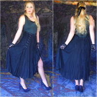 Vintage black lace gown / plunging lace-up corset top with full flowing lace panel sections / witchy goth