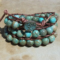 Santa Fe Turquoise Beaded Leather Wrap Bracelet by justhipstuff