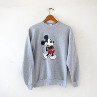 Vintage Mickey Mouse Sweatshirt. Gray Mickey Sweater. small fit