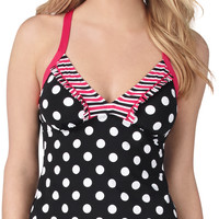 Stripe And Dot Print Racerback Tankini Swim Top - Black/White