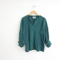 vintage long sleeve top. button front henley. green long underwear shirt