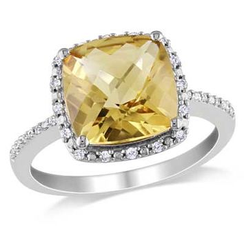 Cushion-Cut Citrine and 1/10 CT. T.W. Diamond Frame Ring in Sterling Silver