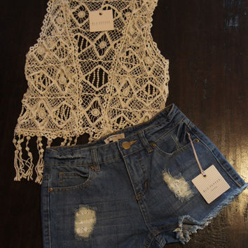Lace Detail Denim Cutoffs