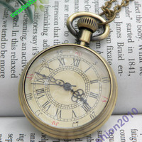 Pretty retro copper round pendant pocket watch necklace vintage style