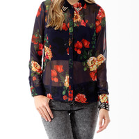 Studded Floral Print Shirt